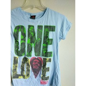 Tops - Bob Marley One Love Blue Tee Large